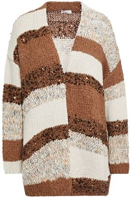 Brunello Cucinelli Sequin-embellished Striped Knitted Cardigan