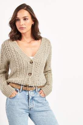 Next Womens Oatmeal Pointelle Cardigan - Natural