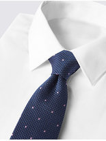 M&S Collection Pure Silk Textured Spotted Tie