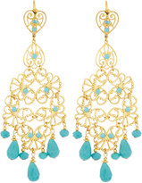 Jose & Maria Barrera Golden Filigree Chandelier Earrings w/ Turquoise-Hue Beads