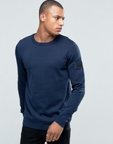 Jack and Jones Knitted Crew Sweater with Arm Badge