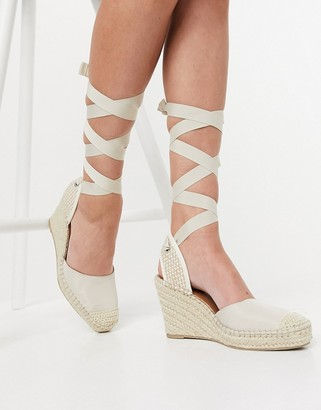 ASOS DESIGN Tori tie leg espadrille wedges in natural