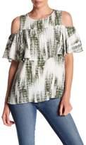 Bobeau Cold Shoulder Tie-Dye Shirt