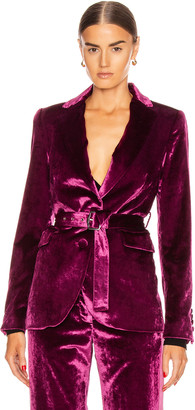 Sies Marjan Terry Liquid Velvet Belted Blazer in Raspberry | FWRD