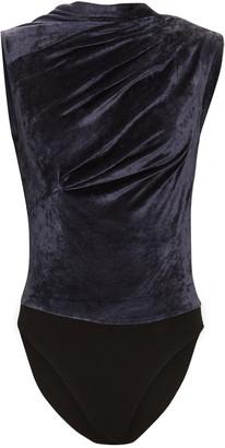 RtA Julie Ruched Velvet Bodysuit