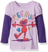 Sesame Street Little Girls' Toddler Elmo Free Hugs Long Sleeve Two-Fer T-Shirt