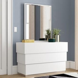 Wade Logan Langridge 3 Drawer Dresser with Mirror