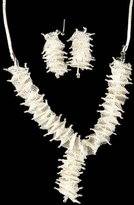 Exotic India Superfine Weave Net Necklace with Earrings Set - Sterling Silver