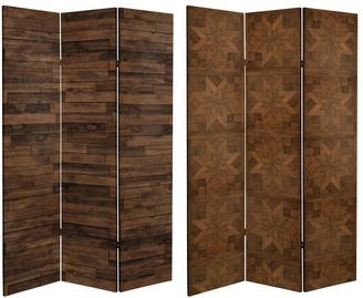 Oriental Furniture 6 ft. Tall Double Sided Walnut Wood Pattern Canvas Room Divider