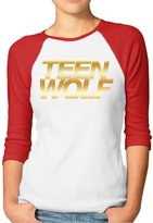 GWJEP Teen Wolf Gold Logo Women 3/4 Sleeve Tee Shirts Cotton