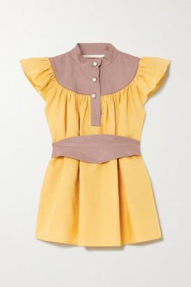 ANNA MASON Kasia Belted Ruffled Linen Blouse - Mustard