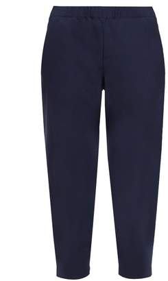Comme des Garcons Elasticated Waist Cropped Twill Trousers - Womens - Navy