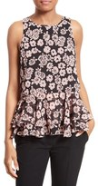 Milly Floral Print Flare Tank