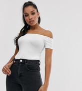 Asos DESIGN Petite off shoulder short sleeve bodysuit in white