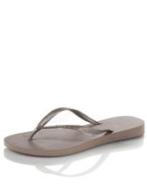 Metallic Flip Flop, Grey