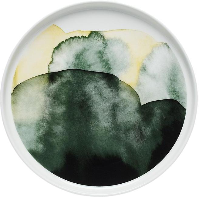 Marimekko Oiva Green and White Plate