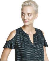 Joe Fresh Women's Smocked Cold Shoulder Blouse, Dark Green (Size XS)