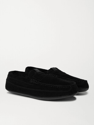 Grenson Sly Shearling-Lined Suede Slippers - Men - Black