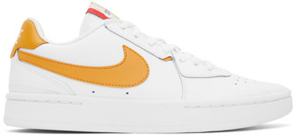 Nike White and Yellow NikeCourt Blanc Sneakers