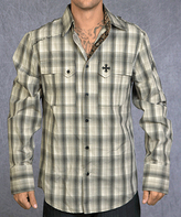 Rebel Spirit Cement Plaid 'Royal' Rampant Embroidery Button-Up - Men's Regular