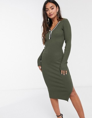 Morgan knitted jumper dress with contrast stripe in khaki