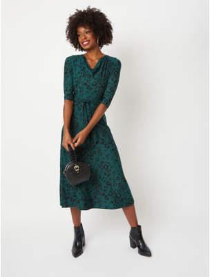 George Dark Green Leopard Print Cowl Neck Midi Dress