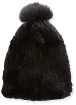 La Fiorentina Mink & Fox Fur Pompom Beanie Hat, Black
