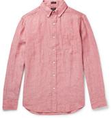 J.Crew Slim-fit Button-down Collar Slub Linen Shirt - Red
