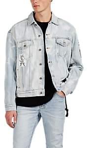 Ksubi Men's Oh G Appliquéd Bleached Cotton Denim Jacket - Lt. Blue
