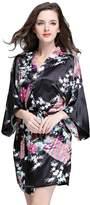 AMUR LEOPARD Womens Short Kimono Robe Peacock Pattern Satin Sleepwear Bathrobe S