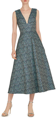 ML Monique Lhuillier V-Neck Sleeveless Midi Jacquard Dress
