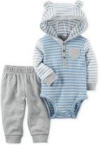 Carter's 2-Pc. Cotton Striped Hooded Bodysuit & Jogger Pants Set, Baby Boys (0-24 months)
