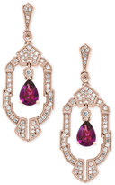Effy Rhodolite Garnet (1-1/2 ct. t.w.) and Diamond (1/2 ct. t.w.) Drop Earrings in 14k Rose Gold