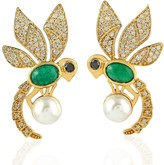 Artisan 18K Gold Bee Earring With Pearl Emerald & Pave Diamonds