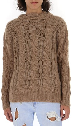 Prada Tie Neck Cable-Knit Sweater
