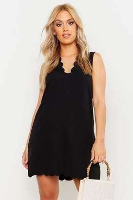 boohoo Plus Scallop Edge V Neck Sleeveless Shift Dress