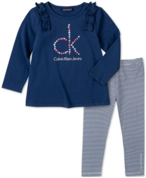 Calvin Klein Jeans Baby Girls 2-Pc. Logo-Print Tunic & Stripe Leggings Set