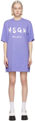 MSGM Purple Artist Logo T-Shirt Dress