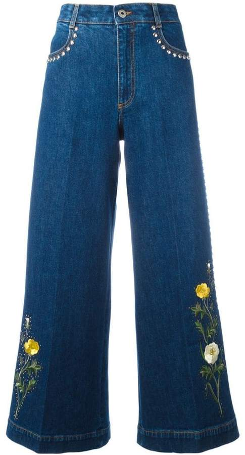 Stella McCartney floral patch flared jeans