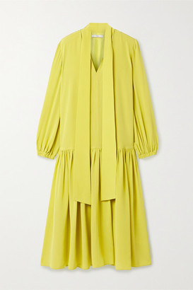 Tibi Tie-neck Silk Crepe De Chine Midi Dress - Chartreuse