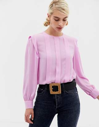 Selected pleat detail top-Navy