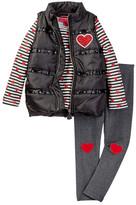 Betsey Johnson Rhinestone Trim Puffy Vest, Stripe Tee, & Legging Set (Toddler Girls)