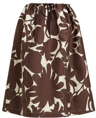 Marni Avery Floral-print Midi Skirt - Womens - Brown White