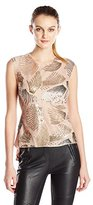 BCBGMAXAZRIA Women's Savanah Fan Sequin Top with Back Pleat
