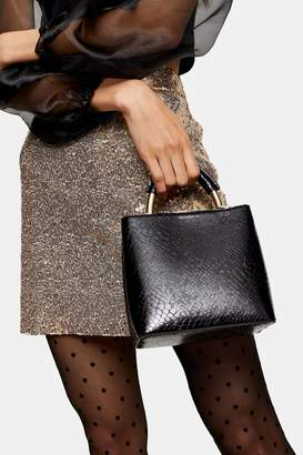 Topshop Womens Tux Black Crocodile Mini Grab Tote Bag - Black