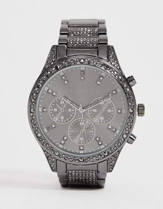 Asos Edition EDITION bracelet watch in gunmetal with crystal detail-Grey