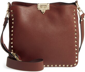 Valentino Garavani Small Rockstud Leather Hobo