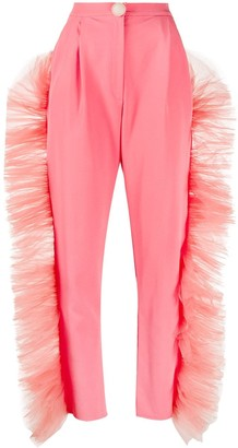 Loulou Ruffled Tulle-Trimmed Trousers