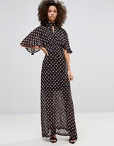 Liquorish Kimono Sleeve Maxi Dress In Ditsy Print