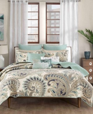 Ink+Ivy Mira Reversible Quilted Paisley Print Full/Queen Coverlet Mini Set Bedding